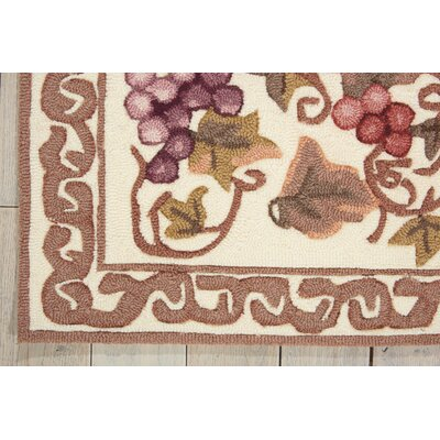 Balboa Hand-Tufted Ivory/Brown Area Rug Rug Size: 75 x 95