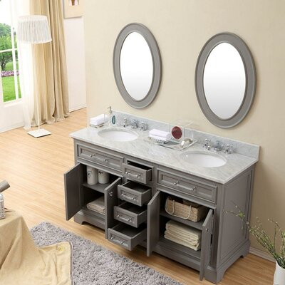 Colchester 60 Double Sink Bathroom Vanity Set - Grey