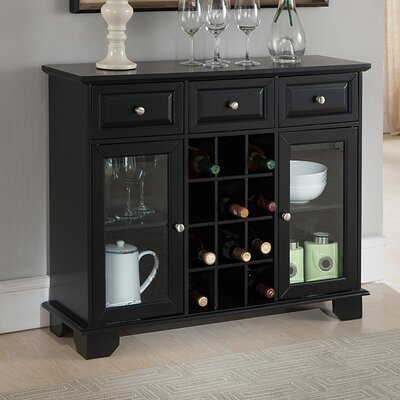 Hannah Wood Server with 12 Bottle Floor Wine Cabinet