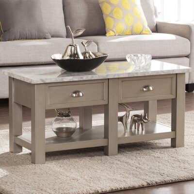 Burket Faux Marble Rectangular Coffee Table