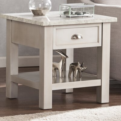 Burket Faux Marble Square End Table