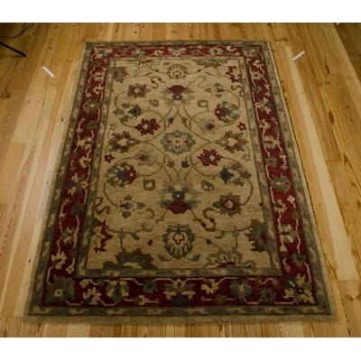 Leland Hand-Knotted Beige Area Rug Rug Size: Rectangle 39 x 59