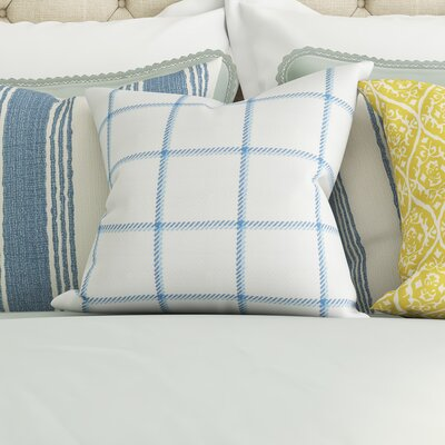 Temples Plaid Cotton Throw Pillow Color: Lake, Size: 18x18