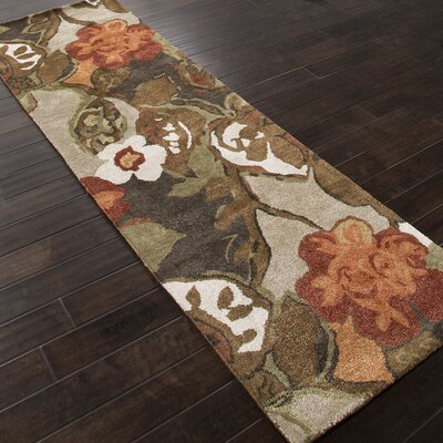 Gustin Brown/Orange Area Rug Rug Size: Runner 26 x 12