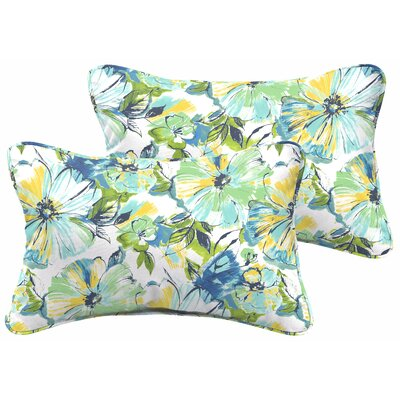 Shoffner Floral Blue/Yellow Indoor/Outdoor Lumbar Pillow