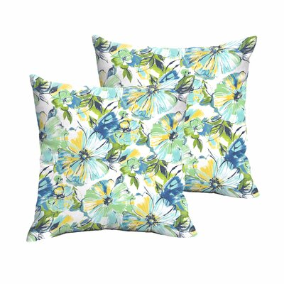Shoffner Floral Blue/Yellow/Green Indoor/Outdoor Throw Pillow Size: 18 H x 18 W x 6 D
