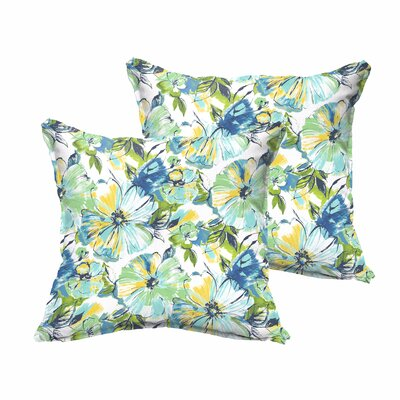 Shoffner Blue/Yellow Indoor/Outdoor Throw Pillow Size: 18 H x 18 W x 6 D