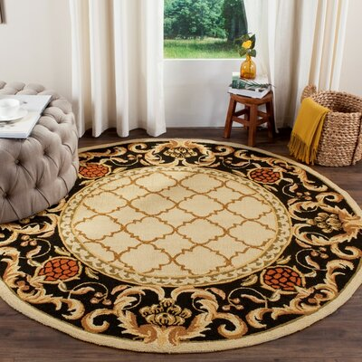 Eddings Anarina Hand-Hooked Ivory/Black Area Rug Rug Size: Rectangle 6 x 9