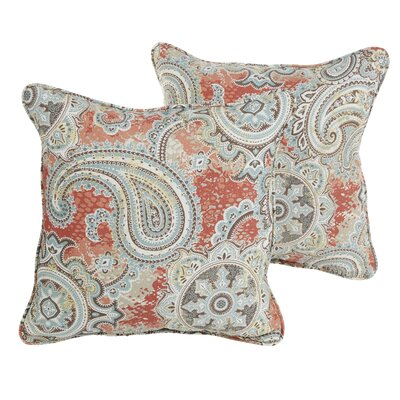 Aravale Coral Paisley Indoor/Outdoor Square Pillows Size: 22 H x 22 W x 6 D