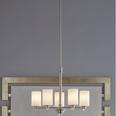 Bourdeau 5-Light Shaded Chandelier Finish: Brushed Nickel
