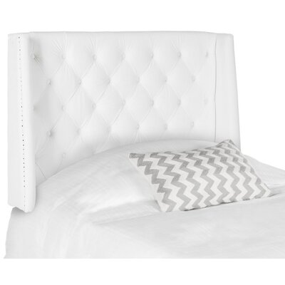 Trenton Upholstered Wingback Headboard Size: Twin, Upholstery: White