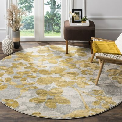 Asherton Gray/Gold Area Rug Rug Size: Round 6'7