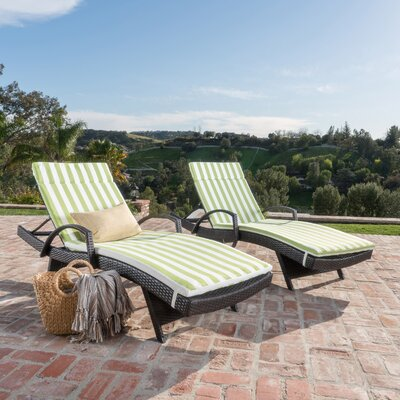 Roma Outdoor Wicker Armed Lounge with Cushion Fabric: Green/White