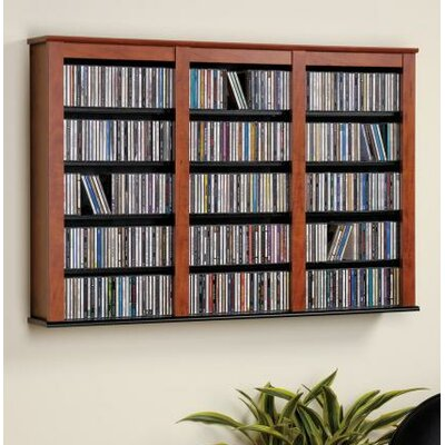 Triple Media Multimedia Wall Mounted Storage Rack Color: Cherry