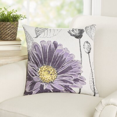 Krauss Flower Embroidery Throw Pillow Color: Purple
