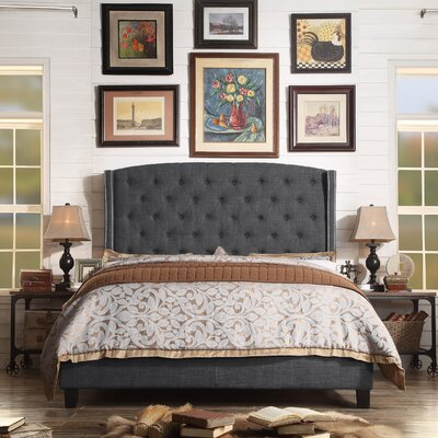 Arandike Nail Head Wing Back Tufted Upholstered Platform Bed Size: Eastern King, Color: Charcoal