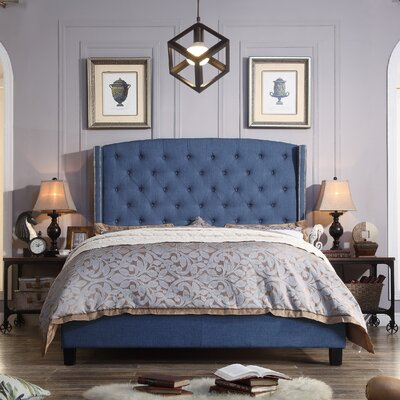 Arandike Nail Head Wing Back Tufted Upholstered Platform Bed Size: Queen, Color: Classic Navy