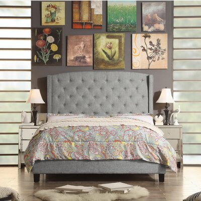 Arandike Nail Head Wing Back Tufted Upholstered Platform Bed Size: Eastern King, Color: Gray