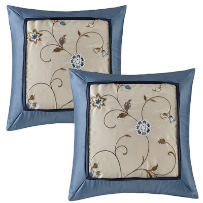 Brierwood Embroidered Throw Pillow Color: Navy