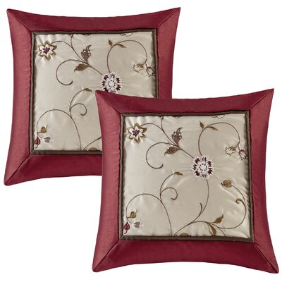Brierwood Embroidered Throw Pillow Color: Red
