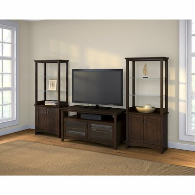 TV Stand with Library Storage Cabinet
