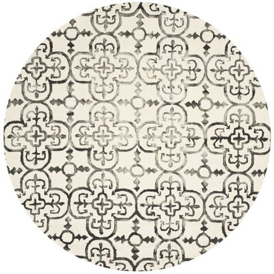 Kinzer Ivory & Charcoal Geometric Area Rug Rug Size: Round 7