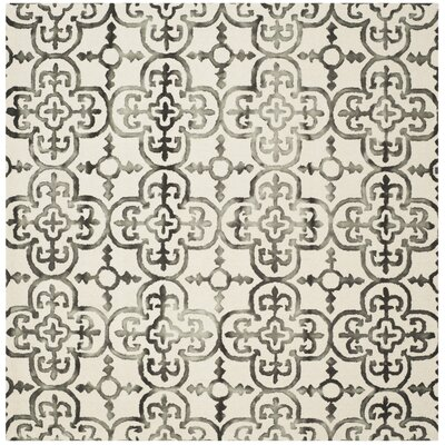 Kinzer Ivory & Charcoal Geometric Area Rug Rug Size: Square 7