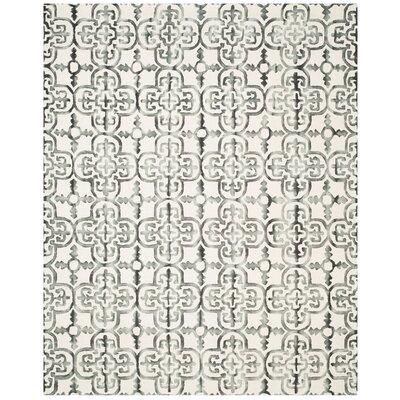 Kinzer Ivory & Charcoal Geometric Area Rug Rug Size: 9 x 12