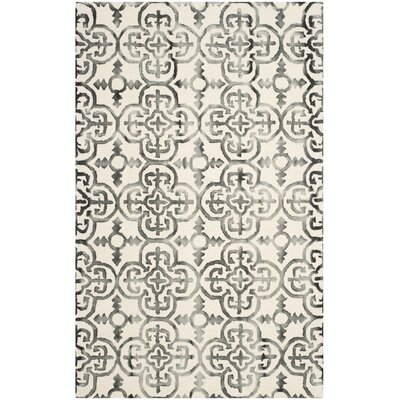 Kinzer Ivory & Charcoal Geometric Area Rug Rug Size: 4 x 6