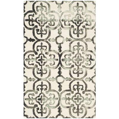 Kinzer Ivory & Charcoal Geometric Area Rug Rug Size: 3 x 5