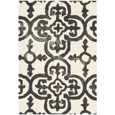 Kinzer Ivory & Charcoal Geometric Area Rug Rug Size: 2 x 3