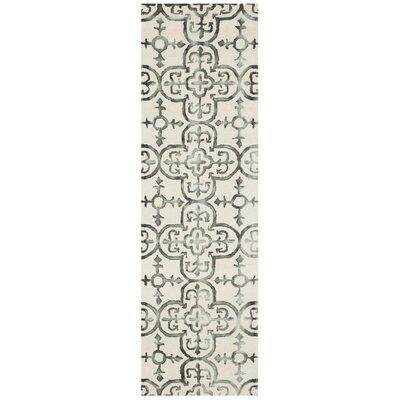 Kinzer Ivory & Charcoal Geometric Area Rug Rug Size: Runner 23 x 6