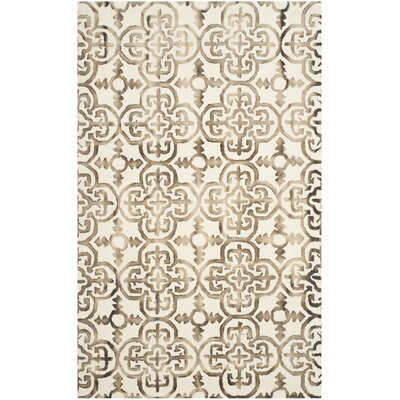 Kinzer Ivory/Brown Area Rug Rug Size: 6 x 9