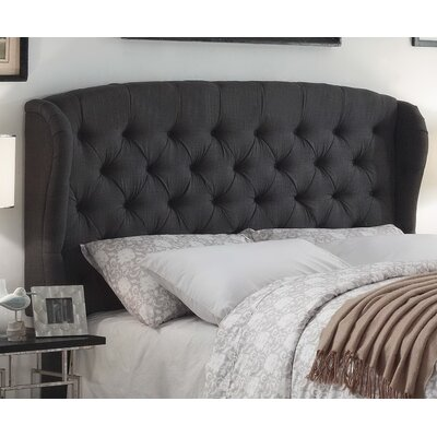Leatham Upholstered Wingback Headboard Size: King, Upholstery: Charcoal