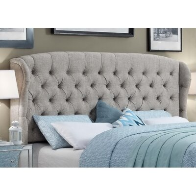 Halsey Upholstered Wingback Headboard Upholstery: Gray, Size: King
