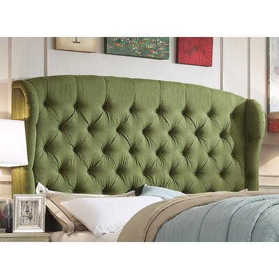 Halsey Upholstered Wingback Headboard Upholstery: Natural Olive Green, Size: Queen
