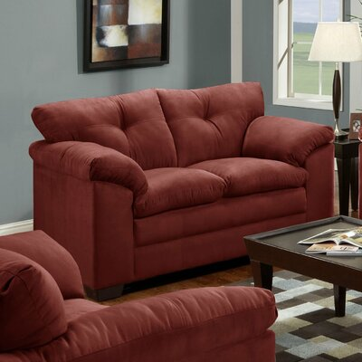 Simmons Upholstery Otto Microfiber Loveseat Fabric: Luna Wine