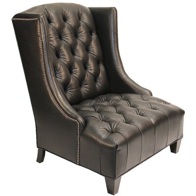 Ryegate Linen and Euro Burlap Wingback Chair Body Fabric: Dark Brown Leather
