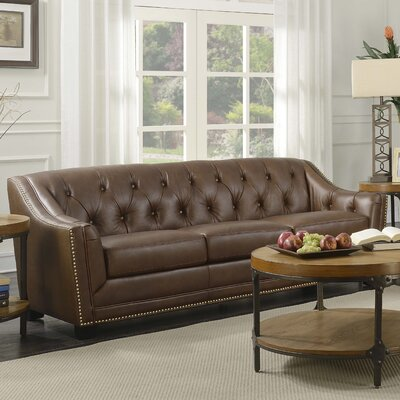 Elnora Leather Sofa Color: Java Brown