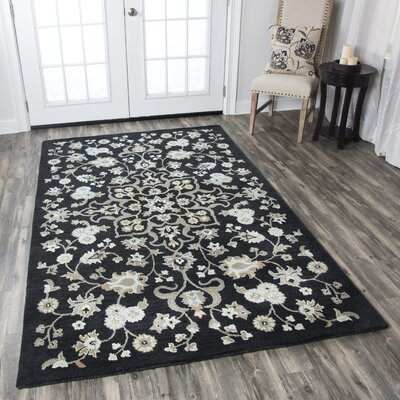 Lamothe Hand-Tufted Black Area Rug Rug Size: 5 x 8
