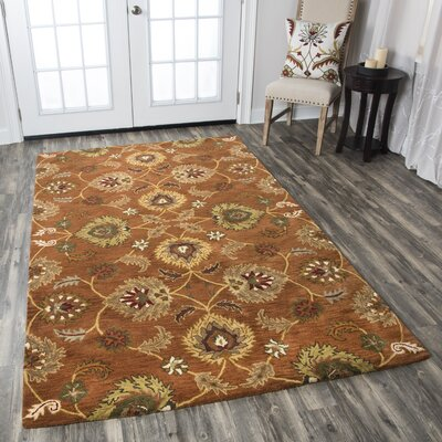 Lamothe Hand-Tufted Rust Area Rug Rug Size: 5 x 8, Color: Blue/Natural