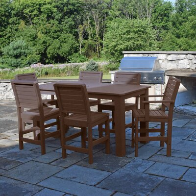 Berry 7 Piece Bar Height Dining Set Finish: Weathered Acorn
