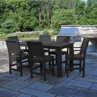 Berry 7 Piece Bar Height Dining Set Finish: Black
