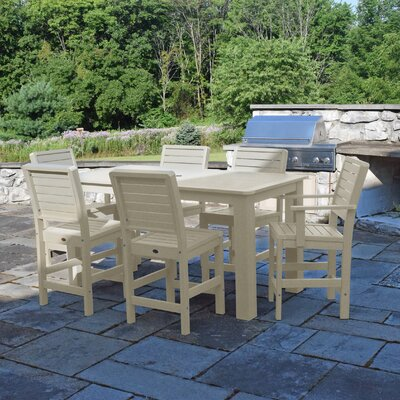 Berry 7 Piece Bar Height Dining Set Finish: Whitewash