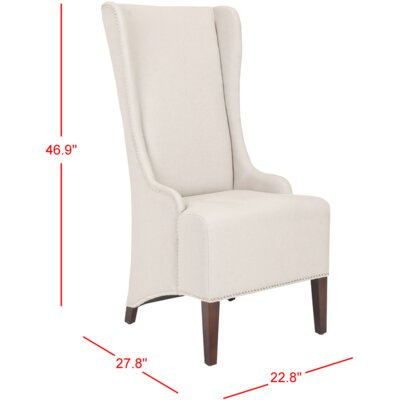 Parris Side Chair Upholstery: Taupe with Silver Stud Trim