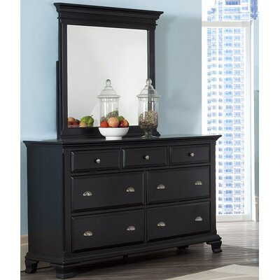 Fellsburg 7 Drawer Dresser with Mirror Finish: Black