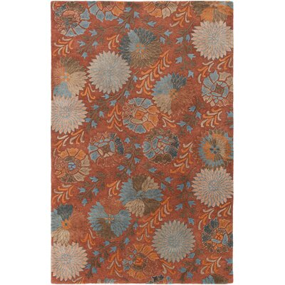 Keith Red Floral Area Rug Rug Size: Rectangle 5 x 8