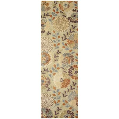Keith Beige Floral Area Rug Rug Size: Runner 26 x 8