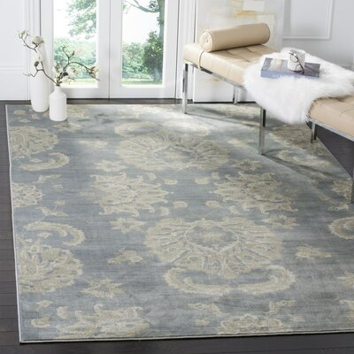 Adele Light Blue / Ivory Area Rug Rug Size: Square 6'7