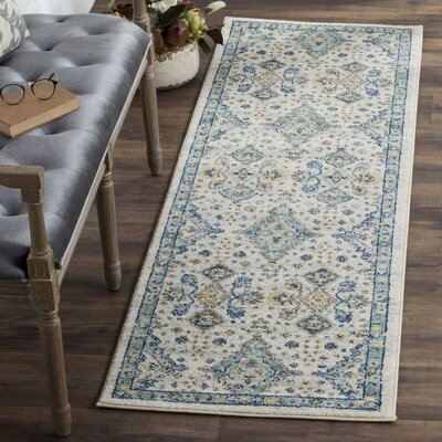 Minonk Ivory/Light Blue Area Rug Rug Size: Runner 22 x 11